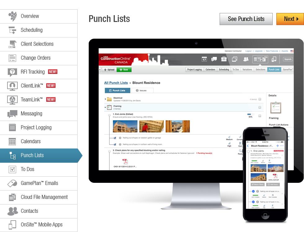 Uda constructiononline canada punch list management for New construction punch list